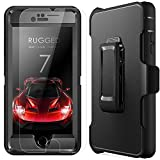 Image of iPhone 7 Case with [Belt Clip] Kickstand & Tempered Glass Screen Protector Heavy Duty [Shockproof] Rugged Armor Hard Cover for Apple iPhone 7 (Black)