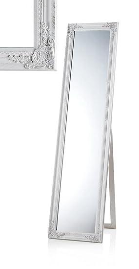Miroir sur pied de style shabby Blanc vieilli 40 x 160 cm Idéale ...