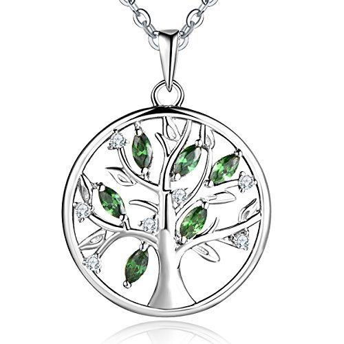 YL Tree of Life Necklace Sterling Silver Green Giving Family Pendant Gemstone Emerald Round ()