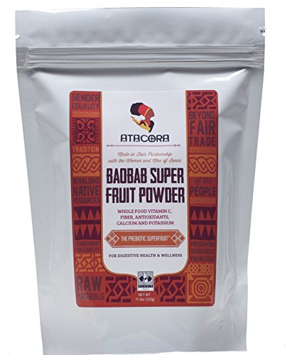 Atacora Fair Trade Baobab Super Fruit Smoothie and Sauce Thickening Powder 30 Day Supply In Travel-Ready Resealable BPA-Free Bag, 11.5 Oz. (Synergy Chia Drink With)