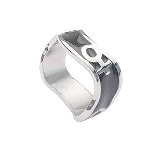 Amazon Venus Female Symbol Black Steel Wave Ring Lesbian