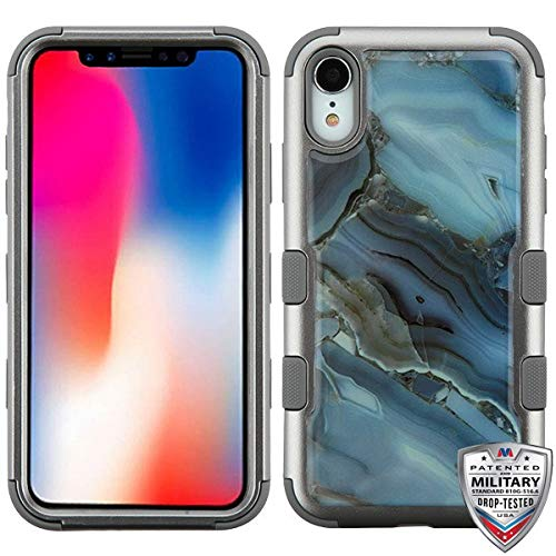 Blue Agate Marble (Copper Grey)/Iron Gray TUFF Krystal Gel Hybrid Protector Cover [Military-Grade Certified](with Package) for Apple iPhone XR ()