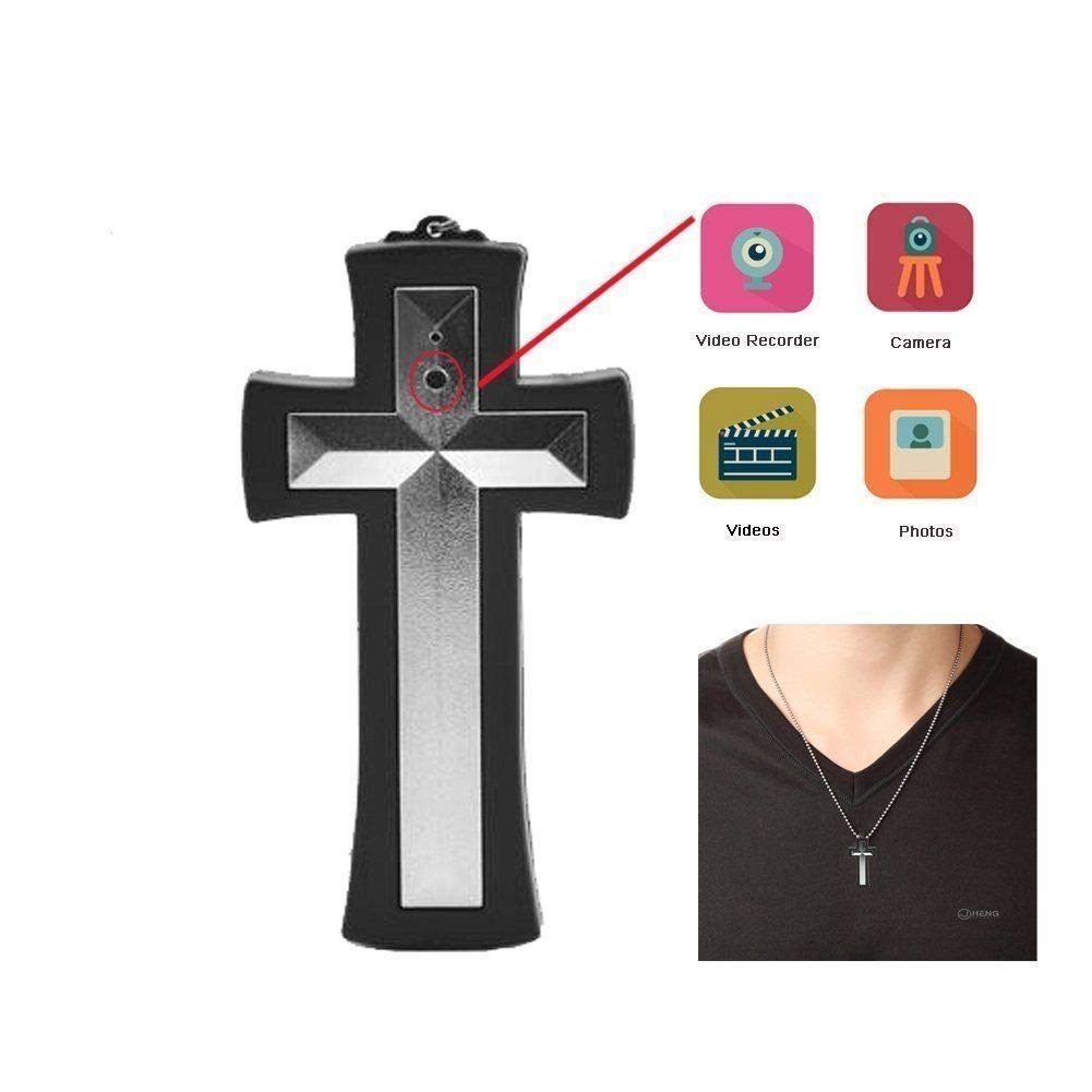 Wearable Cross Neckless Camcorder Mini DVR Digital Home Action Cam Video Recorder (32GB Card)