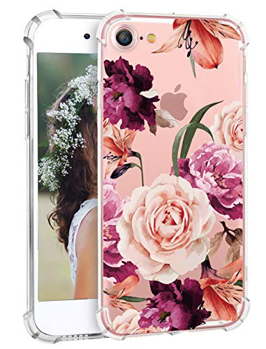 Hepix iPhone 7 Floral Case Flowers iPhone 8 Case for Girls Women, Soft Flexible Clear TPU with Protective Bumpers Pink Purple Roses Phone Back Cover for iPhone 7 iPhone 8 [4.7 inch]