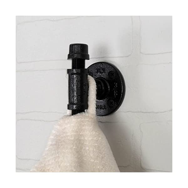 Robe and Towel Single Hook Kit by Pipe Decor | Heavy Duty DIY Style, Rustic and Chic Industrial Iron Pipe with Electroplated Black Finish, Wall Mounted, Mounting Hardware Included, Oil and Rust 5