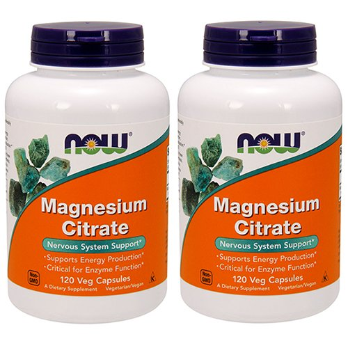 150 Mg Twin Pack - NOW Magnesium Citrate 400 Milligram 120 Veg Capsules, 2 Pack