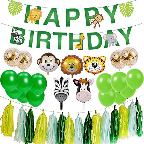 Ohighing Jungle Animals Kids Birthday Party Decoration Happy Birthday Garland Primeval Forest Party Boys Kids Birthday Nursery Decoration for 1st 2nd 3-12 Years old Boys]()