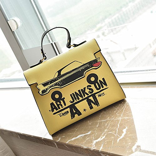 Shoulder Bag Anime Yellow Cute Tote Paquete Leather Girl superior de Print Cartoon Messenger asa aT8TYHq