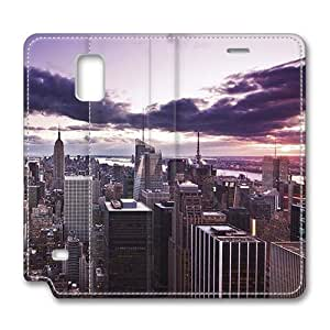 Brain114 Fashion Style Case Design Flip Folio PU Leather Cover Standup Cover Case with Aerial View Of New York City At Dusk Pattern Skin for Samsung Galaxy Note 4