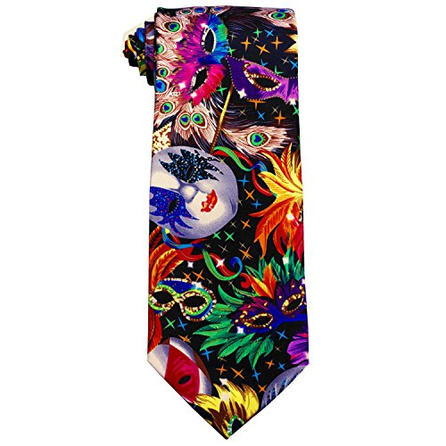 Mardi Gras Colorful Mask Printed Necktie and Handkerchief Set
