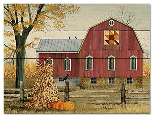 Autumn Leaf Quilt Block Barn-Artist Billy Jacobs-Country Wall Decor-Primitive Decor (Large - Quilt Block Leaf