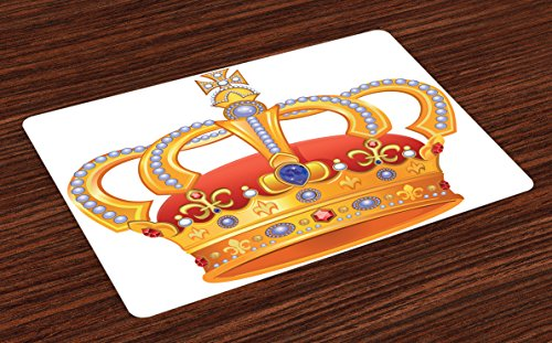 Mats Set of 4, Royal Crown with Gem Like Image Symbol of Imperial Majestic Print, Washable Fabric Placemats for Dining Room Kitchen Table Decor, Orange White Blue Marigold (Imperial Blue Table Mat)