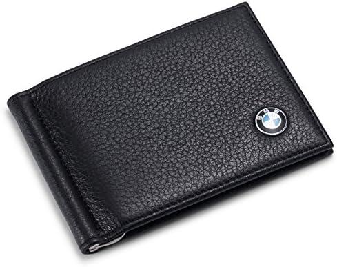BMW Bifold Money Clip Wallet 100/% Genuine Leather 6 Credit Card Holder Men Case