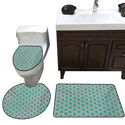 (3 Piece Large Contour Mat Set Skull Cross and Roses on Ornate Skull Pattern South American Culture Vintage Style U-Shaped Toilet Mat Seafoam Ruby Green)