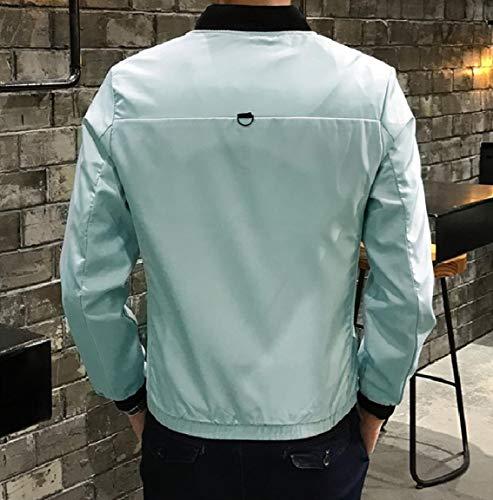 Jacket Weight Overcoat MogogoMen Casual Green Baseball Light Color Solid Zip wT80pqXT