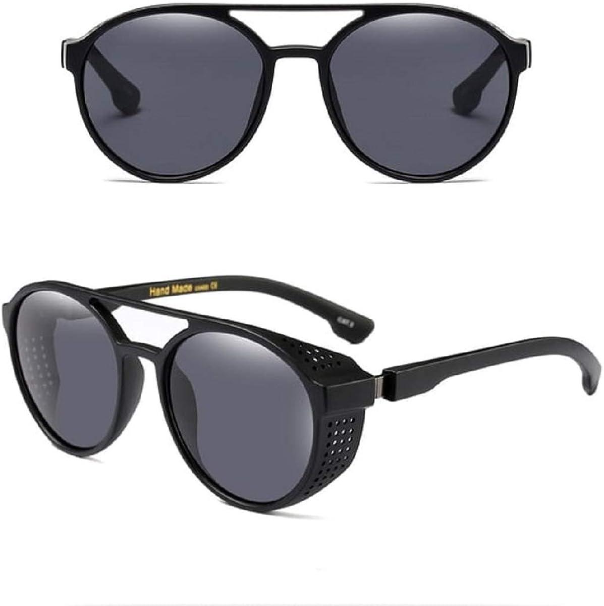 Gafas de sol Steampunk estilo gótico, retro, círculo redondo, con persianas laterales, estilo punk, emogótico, soldadura, estilo vintage, cosplay, resistente al viento, lentes tintadas, para disfraz