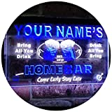 AdvpPro 2C Personalized Your Name Custom Home Bar Beer Est. Year Dual Color LED Neon Sign White & Blue 12'' x 8.5'' st6s32-p-tm-wb