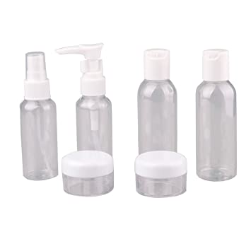 e6e4176f14a3 Amazon.com : Zelta Reusable Clear Toiletries Storage Bottles Set ...
