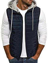 Men's Winter Vest Removable Hooded Quilted Warm Sleeveless Jacket Vests