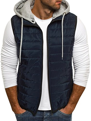 (Makkrom Mens Puffer Vest Jacket Quilted Removable Hooded Sleeveless Zip Up Warm Winter Outwear Jacket Gilet Navy Blue)