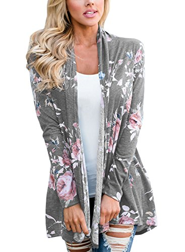 Floral Long Sleeve Cardigan (Sidefeel Women Long Sleeve Casual Floral Print Open Cardigan X-Large Grey)