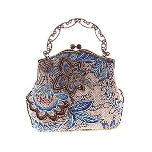 Sac Sac De Dames Rétro Vintage Brodée GOFIVE Bleu De Soirée Main à En Jute Toile 0pPqR