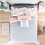 NEW FREE GRAY/PINK TEENS GIRLS REVERSIBLE COMFORTER SET 5 PCS QUEEN/FULL SIZE