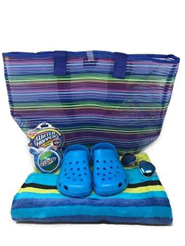 Hopper Wide Bundle - Beach Towel, Beach Bag, Kids Sunglasses, Kids Clogs, Pool Toy: Water Hopper/Foam Pumper 5 Piece Bundle (Blue/Med)