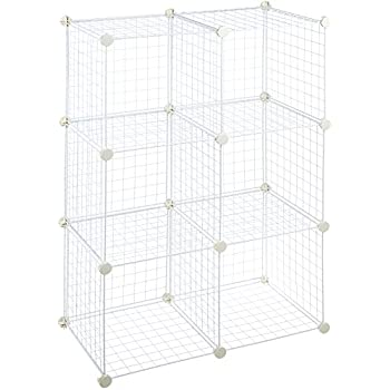 Amazon.com: AmazonBasics 6 Cube Wire Storage Shelves - White: Home ...