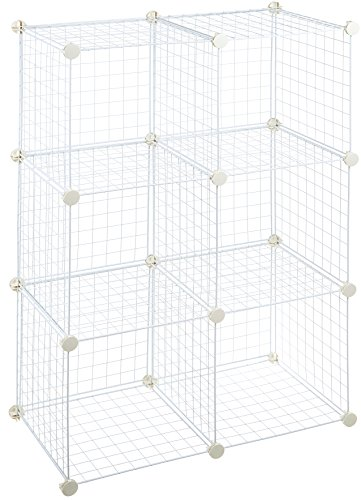 AmazonBasics 6 Cube Wire Storage Shelves - White