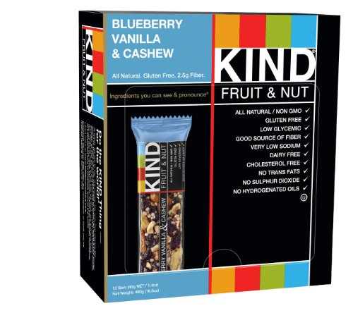 KIND Bars, Blueberry Vanilla & Cashew, Gluten Free, 1.4 Ounce Bars, 12 Count