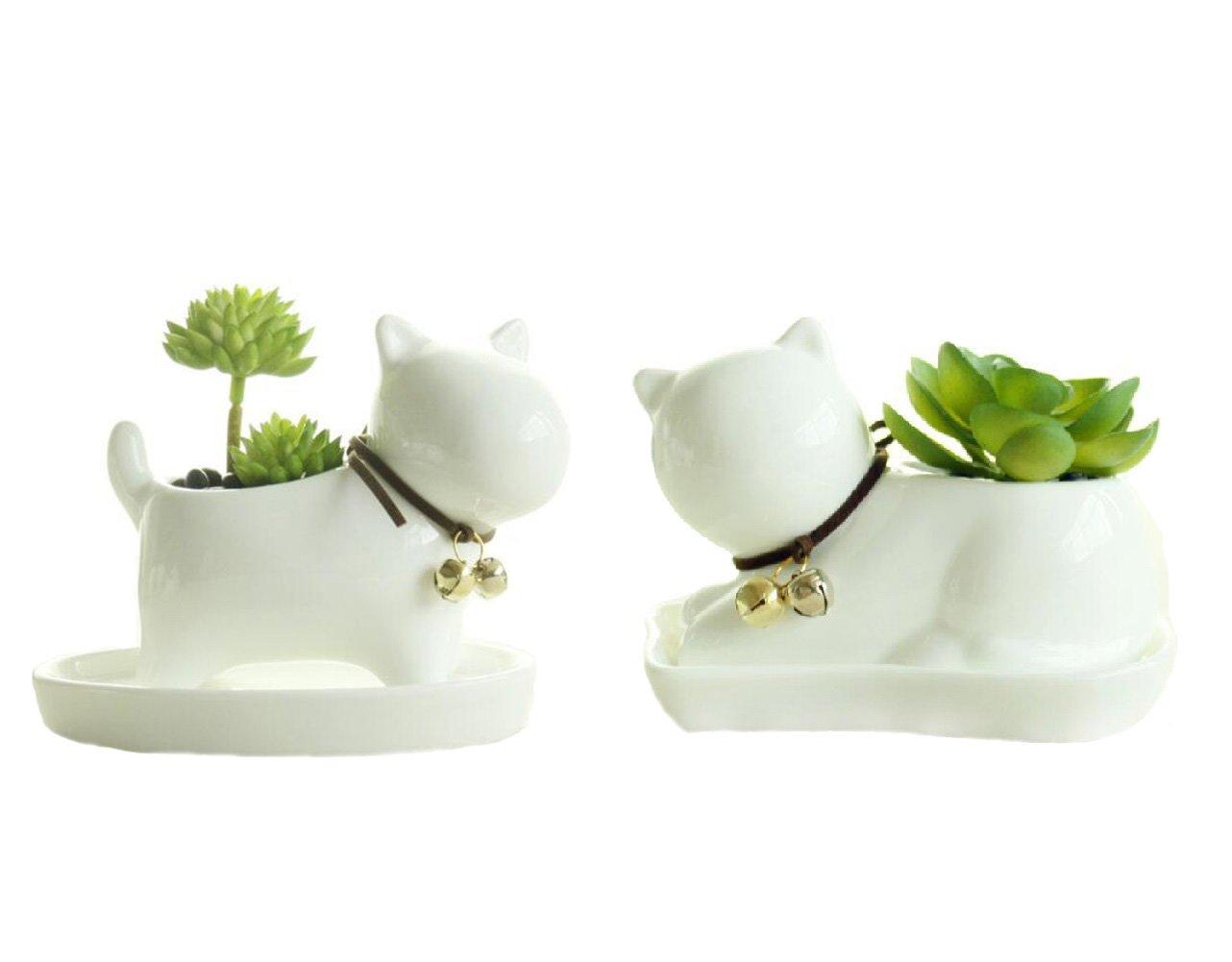 Youfui Ceramic Animal Flowerpot Succulent Plants Container Desk Mini Ornaments Dog Cat