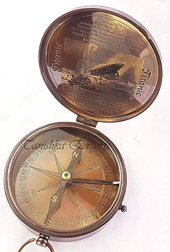 Nautical Brass Compass Vintage Style Titanic Compass Antique Finish Marine Pocket Compass by Tanishka Exports