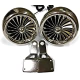 Shark 300 Watt, 3 X 3.5 Inch, Marine Grade Motorcycle Audio Speakers with Mirror Brackets, Waterproof, Chrome, Model SPK2501