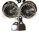 Shark 300 Watt, 3 X 3.5 Inch, Marine Grade Motorcycle Audio Speakers with Mirror Brackets, Waterproof, Chrome, Model SPK2501