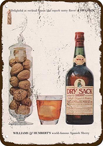 "1960 Williams & Humbert Dry Sack Sherry Vintage Look Replica Metal Sign 7"" x 10"""