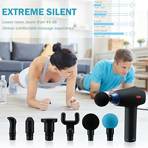 Deep Tissue Massage Gun, Rechargeable Handheld Percussion Massager, Portable Body Muscle Massage gun for Pain Relief and Back Muscle Soreness with 6 Massage Heads and 30 Speed High-Intensity Vibration