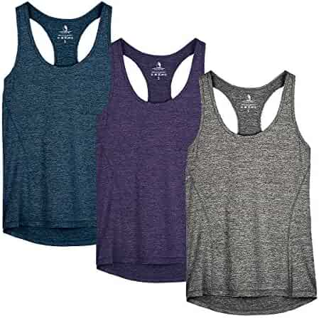 icyzone Workout Tank Tops for Women - Racerback Athletic Yoga Tops, Running Exercise Gym Shirts(Pack of 3)