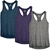 icyzone Activewear Running Workouts Clothes Yoga Racerback Tank Tops for Women (M, Royal Blue/Purple/Charcoal)