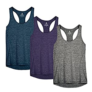 icyzone Workout Tank Tops for Women – Racerback Athletic Yoga Tops, Running Exercise Gym Shirts(Pack of 3)