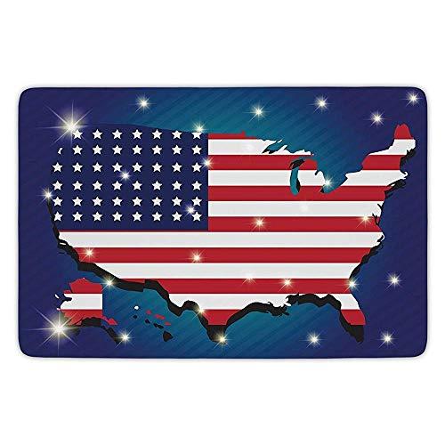 - K0k2t0 Bathroom Bath Rug Kitchen Floor Mat Carpet,USA Map,Fourth July Party Stylized Independence Day Celebration Display,Indigo Dark Blue Red White,Flannel Microfiber Non-Slip Soft Absorbent