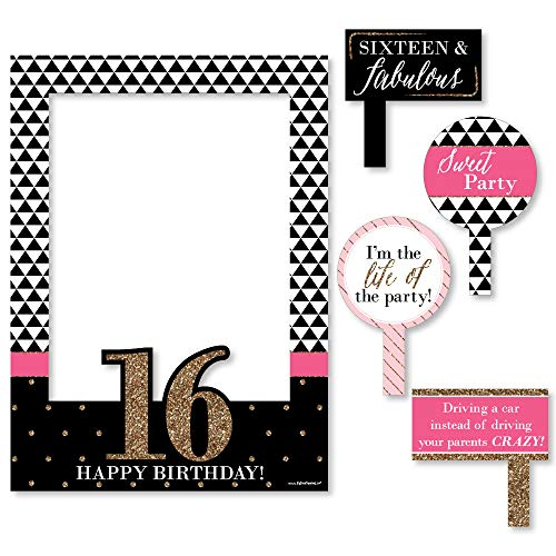 Big Dot of Happiness Chic 16th Birthday - Pink, Black and Gold - Birthday Party Selfie Photo Booth Picture Frame & Props - Printed on Sturdy Material -