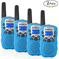 Bobela T388 Best Cheap Walkie Talkies as Festival Birthday Gifts for Boys Men/2 Way Radio Toys for Kids Camping/Hands Free Wireless Woki Toki with Lamp for Family Elderly Fishing (Blue 4 Pack)