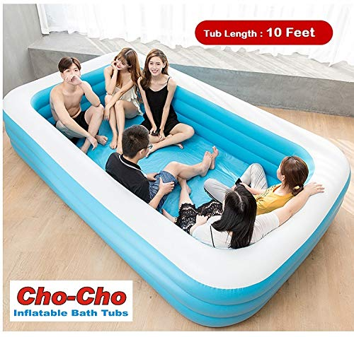 Cho-Cho ® Inflatable Bath Tubs for Kids and Adults Giant Bathtub with Pump 10 Feet Blue