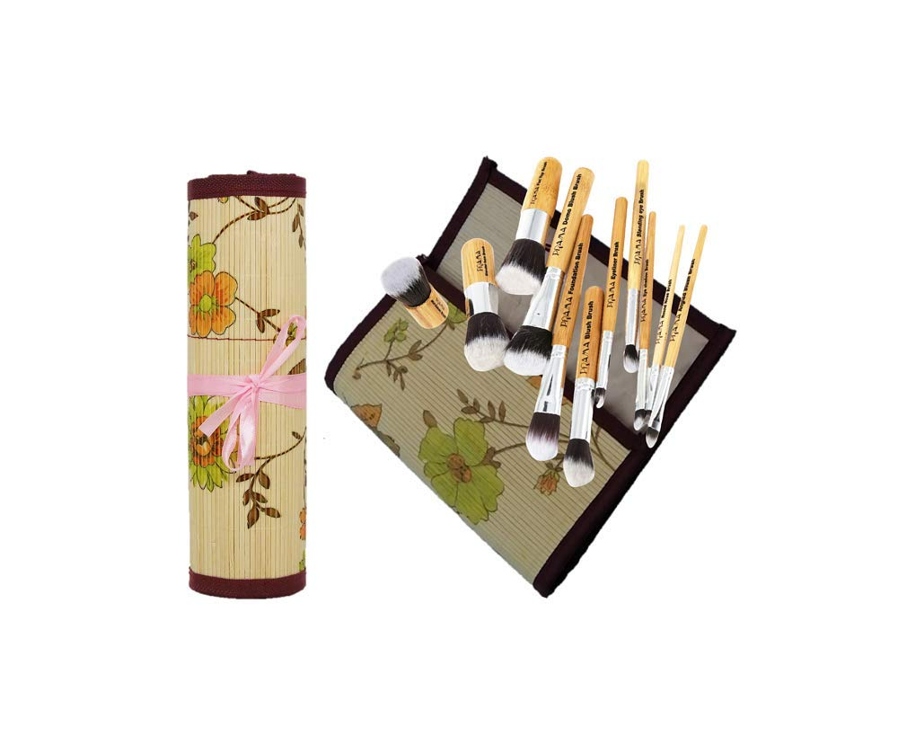 Vegan & Cruelty Free 11pcs Individual Labeled Organic Bamboo Handle Makeup Brush Set with Bamboo Rolling Mat Pouch Holder (Pink Bow)
