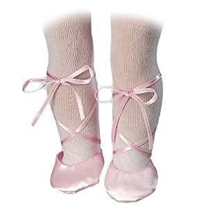 Doll Ballet Slippers & White Doll Tights fit for 18 Inch American Girl Dolls - Pink Doll Slippers and White Doll Tights Set
