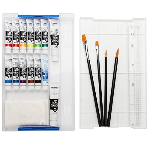 Acryla Set - Turner Acryl Gouache Acrylics Set of 12 Smart Set w/ free Color Mixing Cards 11 ml Tubes - 2 Titanium Whites