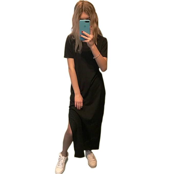 Germinate Largo Vestido Camisetas Mujer Casual Boho Playa Verano Camiseros Vestidos (Negro, S)