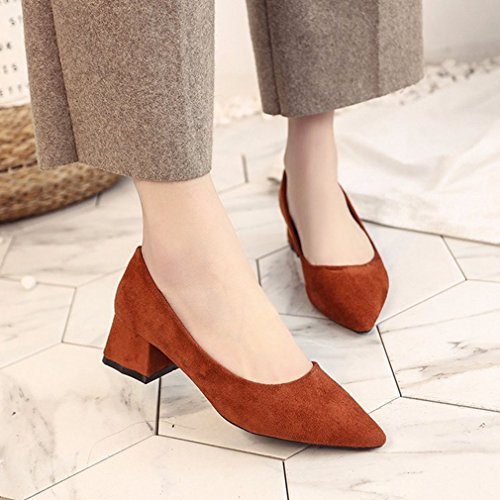 On Dress GIY Toe Pumps Comfort Loafer Shoes Tan Pointed Heel Retro Casual Womens Block Loafers Slip Classic 11nUAOzS