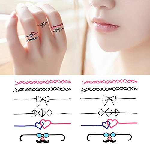 Oottati Small Cute Temporary Tattoo Bow Ring Lovers Heart (Set of 2) -